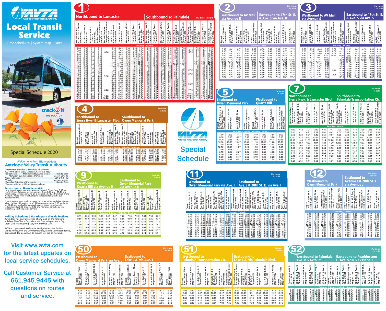 Special Local Transit Schedule