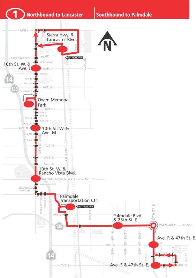 Route 1 Lancaster Palmdale Map