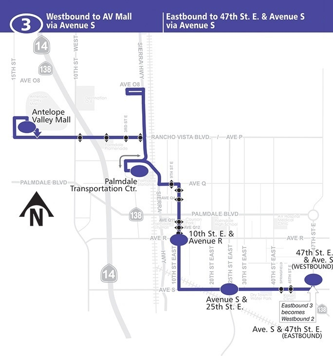 route 3 east west palmdale via avenue S map route 3 east west palmdale via avenue s map