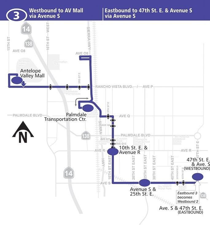 route 3 east west palmdale via avenue S map route 3 east west palmdale via avenue s map