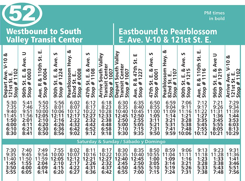 Route 52 Schedule