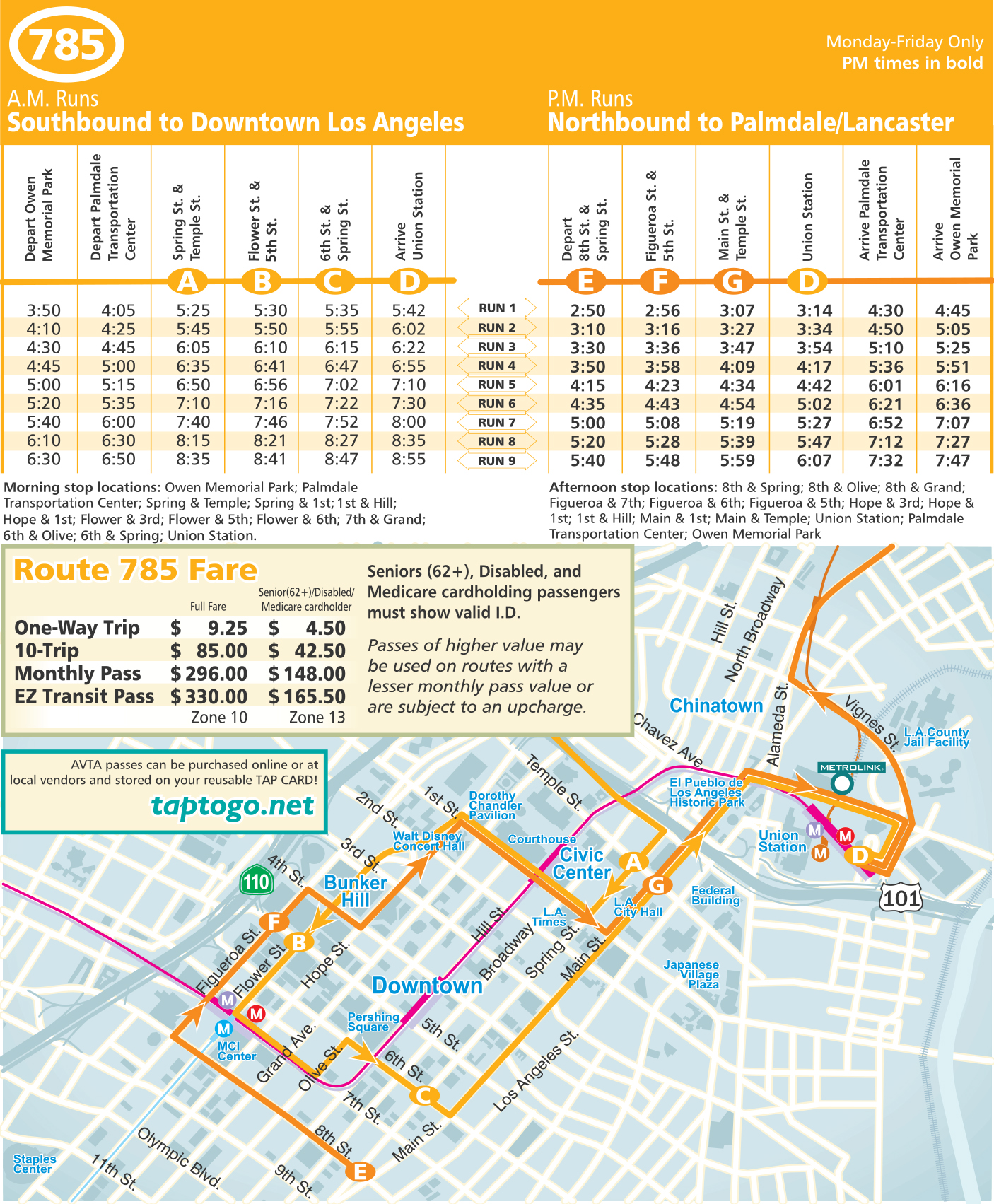 Route 785 Downtown Los Angeles Map And Schedule