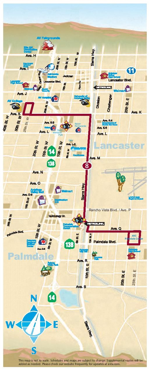 Route 8 Antelope Valley College Map